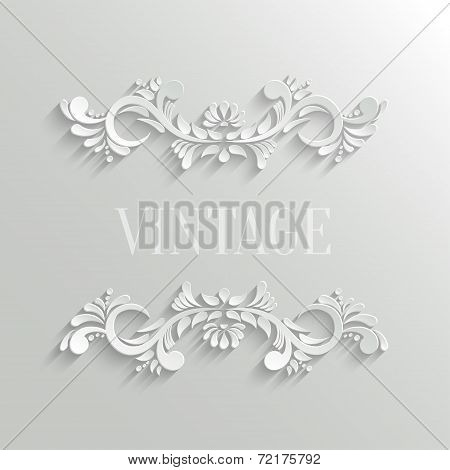 Vector 3d Floral Invitation Card in Vintage Style