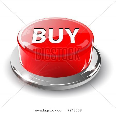 Buy button, 3d red vector.