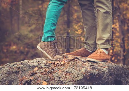 Couple Man and Woman Feet in Love Romantic Outdoor