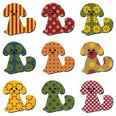 nice scrapbook textile dogs on white vector poster