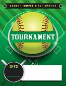 A softball tournament illustration featuring a softball on a softball field. poster