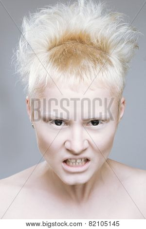 angry aggressive girl in black lenses. eloquent eyes poster