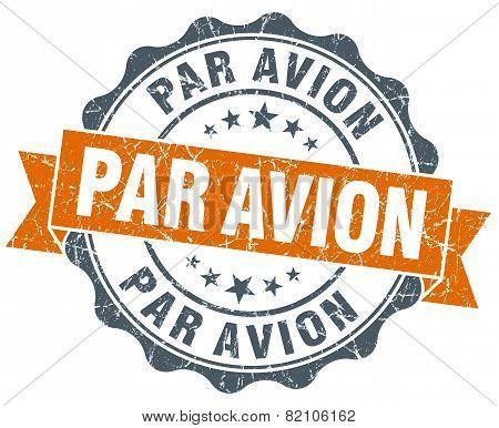 Par Avion Vintage Orange Seal Isolated On White
