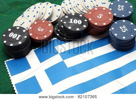 Chips Tokens For Gambling Over The Flag Of Greece