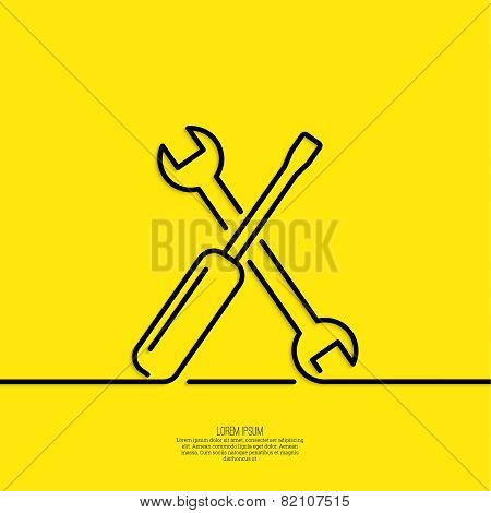 Screwdriver and spanner, assembly and restoration. The concept of repair, setup, and support. minimal. Outline. poster