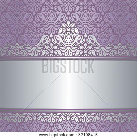 Shiny violet & silver renaissance pattern vintage invitaton background