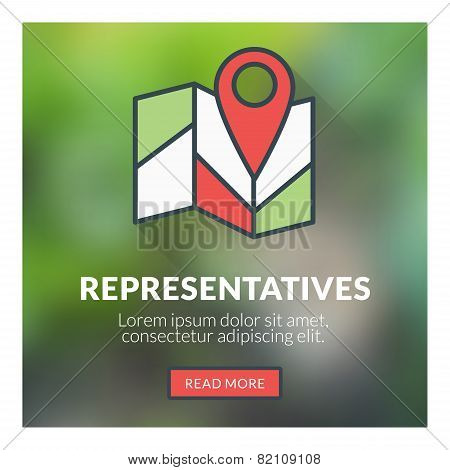 Flat design concept for representatives. Vector illustration with blurred background