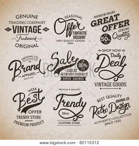 Vintage Fashion Labels on Light Brown Background