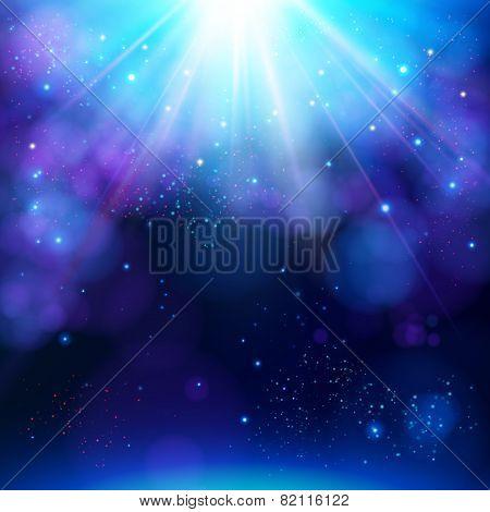 Sparkling blue festive star burst background