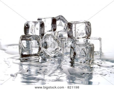Melting ice cubes in silver plate poster