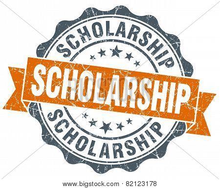 Scholarship Vintage Orange Seal Isolated On White