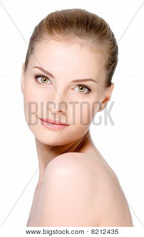 Woman's Face With Healthy Clean Skin