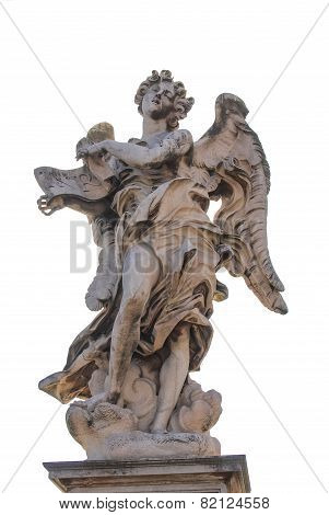 Bernini's marble statue of angel with cross from the Sant' Angelo Bridge in Rome