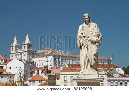 Statue in front of church of Santa Engracia Lisbon Portugal during summer day