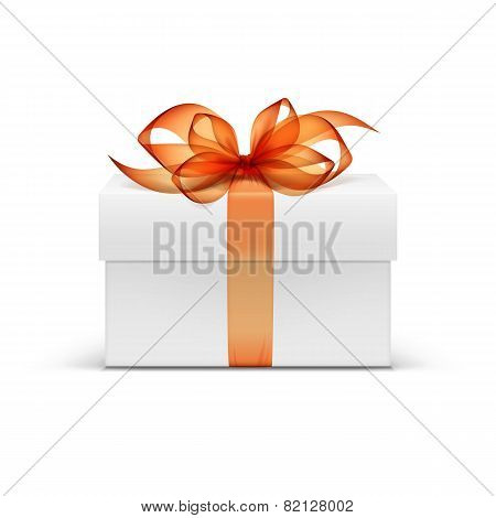 White Square Gift Box with Orange Ribbon and Bow
