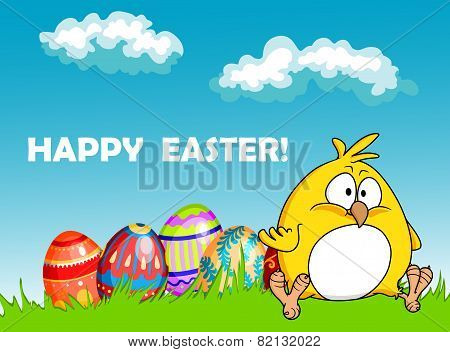 Happy Easter greeting card with eggs and a chick