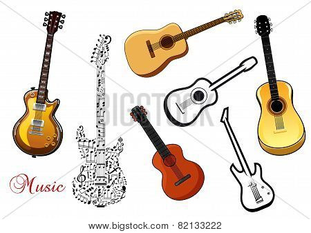 Set of musical guitars