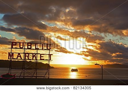 Seattle Pike Place Market at sunset