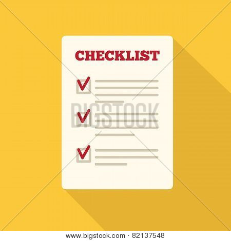 Flat Style Icon with Long Shadow.  A checklist