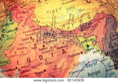 Vintage Map Nepal and Bhutan . Close-up macro image of Nepalese map . Selective focus poster