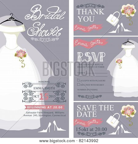 Bridal shower invitation.Wedding dress,bouquet,accessories set
