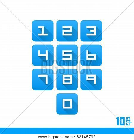 Set of numbers buttons
