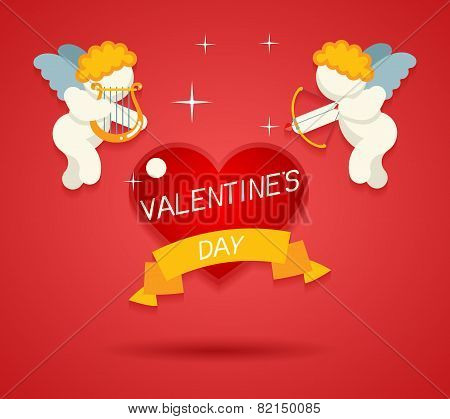 Valentines Day Greeting Card Template Angel Cherub Symbol Baby Boy with Harp Lira Bow and Arrow Aimi
