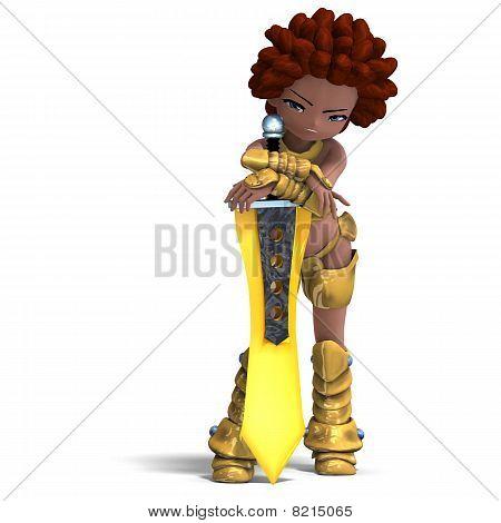 female fantasy manga knight as a cartoon guard