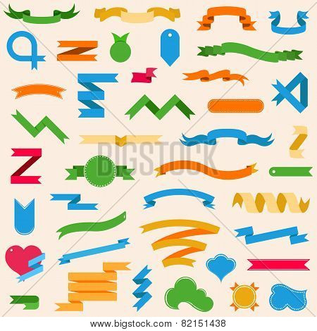 Vector Set With Ribbons, Labels, Badges In Style Flat - Stock Vector.