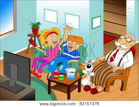Grandchildren And Grandfather At The Tv