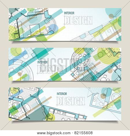 Set Of Horizontal Banners With Parts Of Detailed Architectural Pla