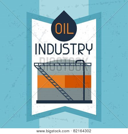 Oil storage tank background. Industrial illustration in flat style. poster
