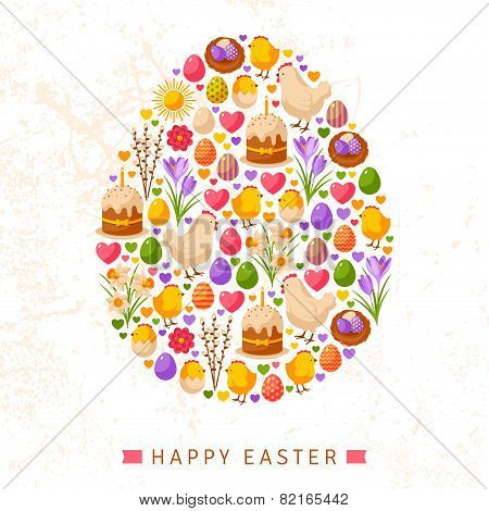 Happy Easter Day Concept with Flat Lovely Icons Arranged in Form of Egg.