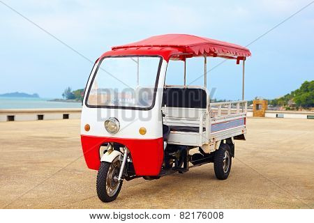 Asian Rickshaw Vehicle Parked On The Road