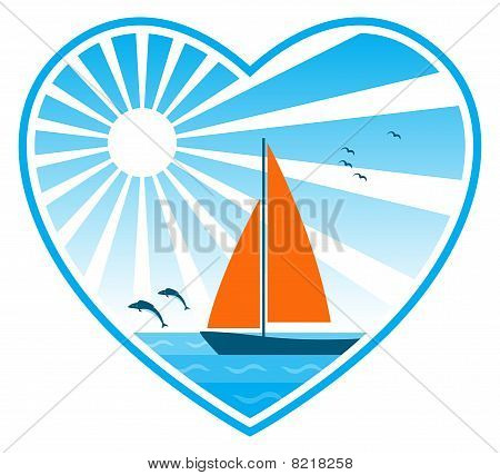 Sea, Sun And Sailboat In Heart