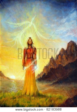 An Enchanting Mystical Priestess With A Sword Of Light In A Landscape Bearing A Shining Sign Up On T
