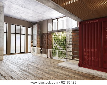 Empty room of residence with an atrium against the back wall and hardwood floors. 3d rendering