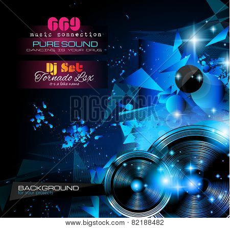 Disco Night Club Flyer layout with  music themed elements to use for Event Poster, Club advertisement, Night Contest promotions and Invitations.