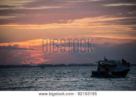 Sunset Isla Mujeres Beach, Tropical Paradise, Caribbean. Mexico Island Near Cancun. Traveling Rivier