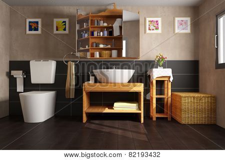 Clean bathroom with sink and toilet and black tiles (3D Rendering)