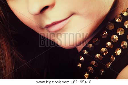 Close Up Part Of Woman Face With Stud Collar