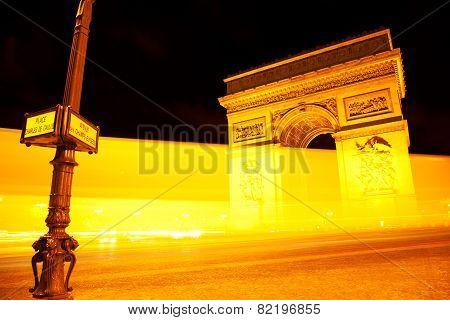 Arc De Triomphe By Night, Paris