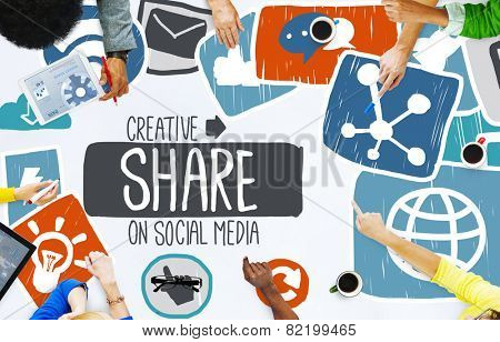 Share Sharing Social Media Networking Online Download Concept poster
