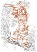 Illustration of a series of legendary animals and monsters (skeleton): BIGFOOT. An hand drawn and painted full sized illustration (Original). Version: Drawing on white background. poster