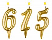 candles number six hundred fifteen isolated on white background poster