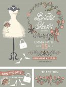 Bridal shower  template set.Wedding dress and bridal accessories,floral wreath, hand writing text,ribbon.Dress put on mannequin.Wedding invitation,save date, thank you card.Cute vintage Vector poster