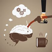 Vector concept of vigorous mind with coffee or caffeine poster