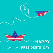 Presidents Day background Paper boat and paperplane. Dash line. Vector illustration poster
