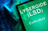 Tablet with the chemical formula of Lysergide (LSD). Drugs and Narcotics poster