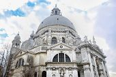 A low angle view of the Santa Maria della Salute church in VeniceItaly. poster